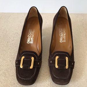 Salvatore Ferragamo brown suede heels